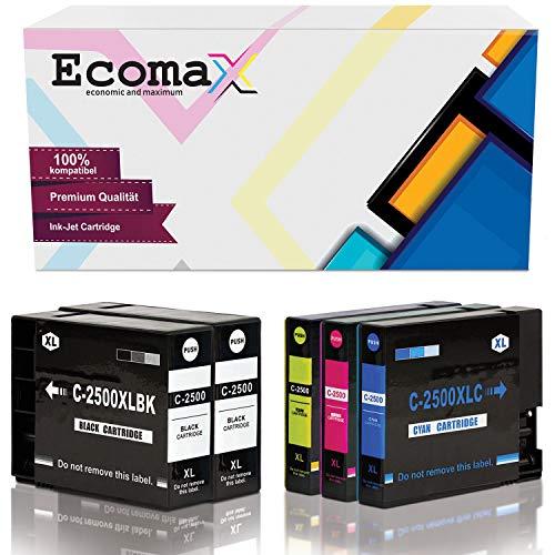 5 Ecomax Tintenpatronen kompatibel zu Canon PGI-2500XL Multipack Maxify IB4000 IB4050 IB4100 MB5050 MB5350 MB5450 MB5455 MB5150 MB5155
