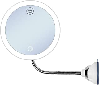 GECOUN 5X Magnifying Makeup Mirror with Light Flexible Gooseneck Bathroom Magnification LED Lighted Vanity Mirror with Strong Suction Cup for Travel and Home