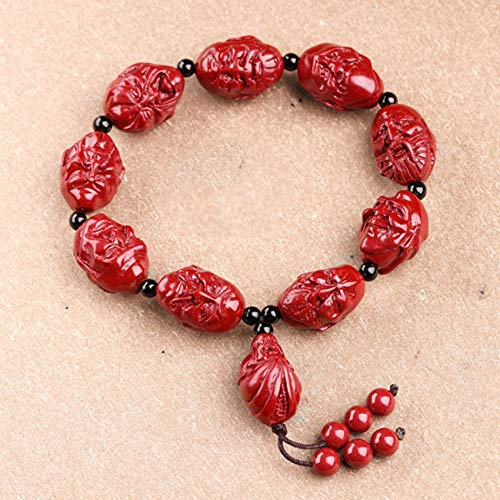 Natural Genuine Purple Sand Cinnabar Eighteen Arhats Chakra Balancing Charm Bracelet Feng Shui Lucky Chinese Gifts for Healing Attract Money for Good Fortune Courageous Wealth Bring Prosperity