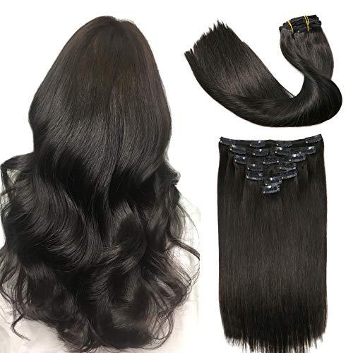 Extensions de cheveux humains à clips - Cheveux brésiliens épais - Double trame - 120 g - 8 pièces par lot - Cheveux naturels Remy - Tête complète - Cheveux lisses et soyeux - 35,6 cm # 1B)