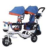 Triciclos Triciclo para niños, triciclo para niños, triciclo para niños doble 4 en 1 trike, caminata gemela Confort Bicycle de dos ruedas de 3 asientos para niños con asiento giratorio, carro infantil