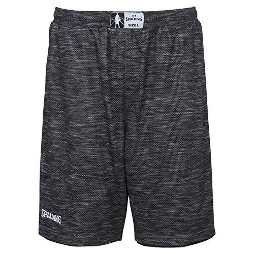 Spalding Herren Street Reversible Shorts, grau Melange/Schwarz, 4XL