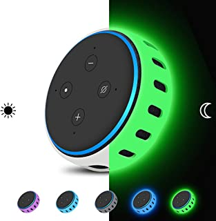 Echo Dot 3rd Generation Case Cover [Glow in The Dark],Silicone Protective Case Holder [Lightweight ] Anti-Slip Shockproof Skin Stand (Glow Green)