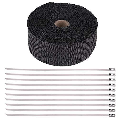 Cinta aislante para tubos de escape, tela negra de 16 pies con cinta aislante de alto calor para tubos de escape para automóviles y motocicletas