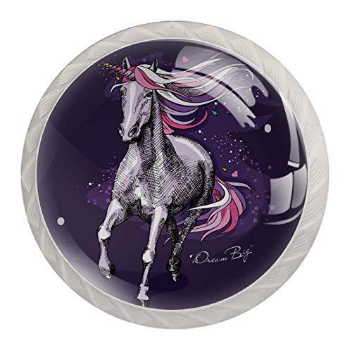 Perillas de armario de cocina, perillas decorativas redondas, armario, cajones, tocador, tirador, 4 Uds., Mágico, moderno, unicornio, caballo