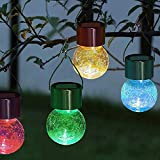 Hanging Solar Color Lights,8 Pack Crackle Glass Ball Waterproof Light, Decorations for Christmas Tree,Garden,Yard,Patio,Lawn,Wedding