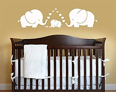 LUCKKYY Cute Three Family Elephant Wall Decals for Kid Room Room Decor Baby Nursery (White)