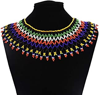 Multicolor African Necklace| African Jewelry| Zulu Beaded Bib Necklace| South African Statement Necklace| Maasai Necklace| Sister Gifts| (Color A)