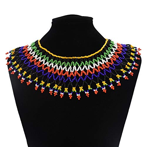 Multicolor African Necklace  African Jewelry  Zulu Beaded Bib Necklace  South African Statement Necklace  Maasai Necklace  Sister Gifts  (Color A)