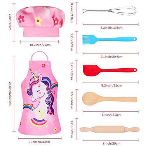 Tacobear 16 Stücke Koch-und Backset für Kinder Einhorn Schürze Kochmütze Outfit Kinderküche Rollenspielsets mit Schürze, Kochmütze, Utensilien für Mädchen und Jungen - 4
