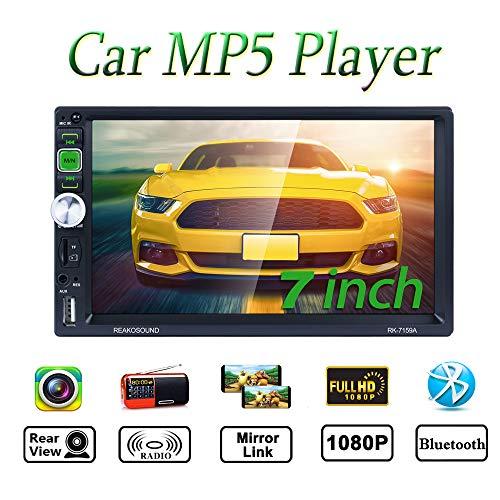 ATian Radio Coche 2 DIN Autoradio Bluetooth con 7 Pulgadas HD Pantalla Táctil, Soporte Bluetooth Manos Libres/Mirror Link/FM/RDS/USB/TF/AUX(Cámara de visión Trasera incluida)