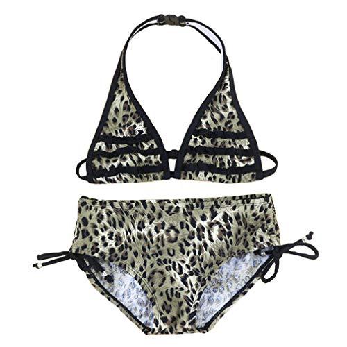 Changhants Girl Leopard Print Bikini Set 8-16 Anni Ragazze Due Pezzi Costumi da Bagno Bambini Costume da Bagno Nuoto Costumi da Bagno per Bambini Summer Sunny Beach Wears (12,Leopard)