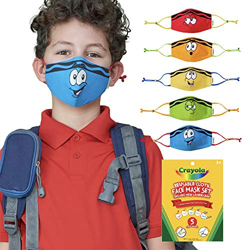 Product Image of the Crayola Kids Face Mask - 5 Reusable Cloth Face Masks Set, Tip Faces, Back to...