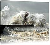 Leuchtturm im Sturm Format: 120x80 auf Leinwand, XXL