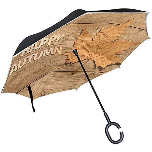 Mike-Shop Ombrello rovesciato a Doppio Strato Composizione Autunnale Foglia Pioggia Auto Antivento Maniglia Esterna a C