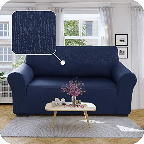 UMI. by Amazon Funda para Sofa Decorativa Suave de Salon con Patrón de Corteza 2 Plazas Azul Marino