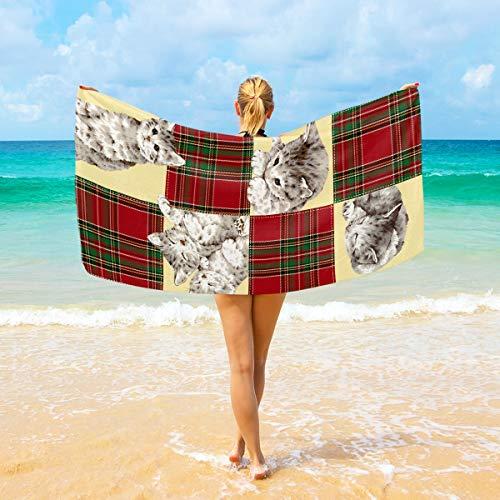 Ahomy Mikrofaser-Strandtücher mit Katzen-Motiv, großes Reisehandtuch – Ultra saugfähig, schnell trocknend, für Herren, Frauen und Kinder