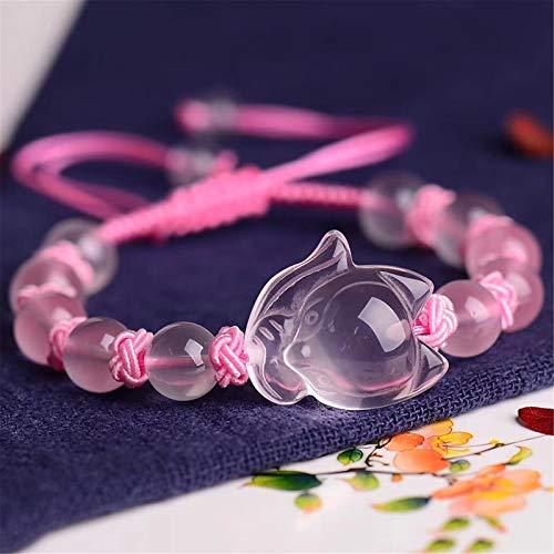 Feng Shui Reichtum Armband Rosenquarz Armband Naturedelstein Heilkristall mit exquisiten Fuchs Ornament, ziehen Lucky Love Armreif verstellbare handgefertigte Schmuck Geschenk für Frauen/Mädchen,8mm