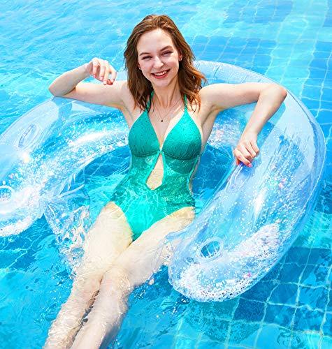 Sayiant Summer Supply - Cama flotante con malla y agua, hamaca con respaldo plegable, sillón hinchable para actividades al aire libre