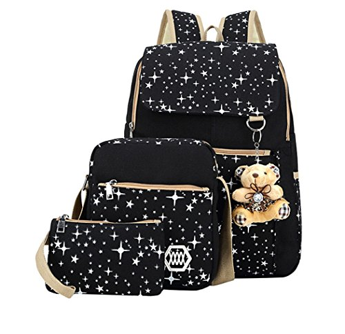 Fanci Girls Star Prints Canvas Primary School Backpack Set with Crossbody Bag 3 pcs Black
