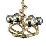 EASTYY 6 Luces Magic Bean Glass Globe Shade American Industrial Araña Colgante Retro Vintage Accesorio De Iluminación E27 Edison Lámpara De Techo Colgante Ajustable Comedor Sala De Estar
