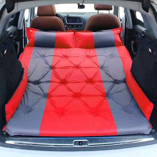Colchón de aire automático para coche, camping, colchoneta para dormir, cama inflable, colchón de viaje elevado, con alas (rojo)