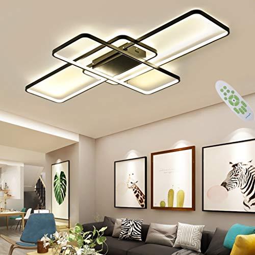 Ykdd Plafonnier LED rectangulaire, Lustre à 3 grilles avec Gradation à télécommande, plafonnier à personnalité créative pour Salon et Chambre, Noir/Blanc [économie d'énergie A ++],Noir,140cm