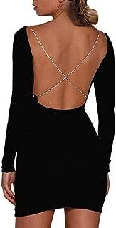 Kleid damen Kolylong® Frauen Elegant Rückenfreies Kleid Vinatge Kleid Langarm Festlich Kleider Knielang Minikleid Bodycon Partykleid Cocktailkleid Abendkleid 2 Farbe