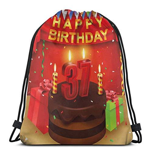 Hangdachang Schokoladen-Kuchen-Geschenke, Luftballon-Flagge, niedliche Symbole, Kerzen, kunstvolles Bild, verstellbarer Kordelverschluss, bedruckter Kordelzug, Rucksäcke