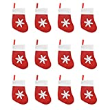Jinlaili Mini Medias de Navidad, 12 Pz Bolsa de Tenedor y Cuchillo de Navidad, Vajilla de Copo Nieve, Mini Calcetines de Decoración Navideña, Calcetín de Navidad Encantador para Vajilla