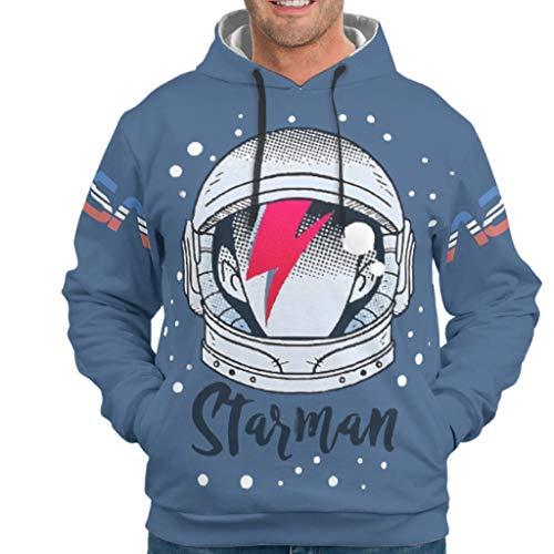 O5KFD&8 Herr Kapuzenjacke Jungen & Mädchen Starman1 Muster Lässig - NASA Vlies Slim Uniform White l
