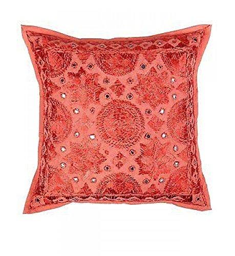 Indian bordado hecho a mano de trabajo algodón funda de almohada, espejo funda para cojín, Manta para sofá Boho Chic bohemio almohada decorativa (16x 16), (rojo)