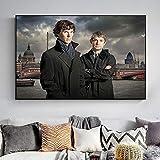 wZUN El Detective Sherlock Holmes y el Doctor Watson Series de televisión Carteles e Impresiones murales imágenes artísticas en Lienzo para la decoración de la Sala de Estar 50X75CM