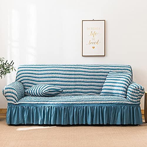 PPOS Colores Seersucker Funda de sofá para Sala de Estar Sofá Falda Antipolvo Funda Suave única para sofá Funda de sofá A8 1 Asiento 90-140cm-1pc