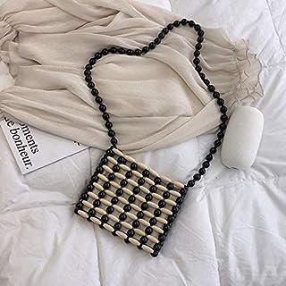 Adebie - 2019 New Fashion Women Wood Beads Woven Messenger Bag Summer Handbag Beaded Small Shoulder Bag Female Bamboo Beach Crossbody Bag Black []