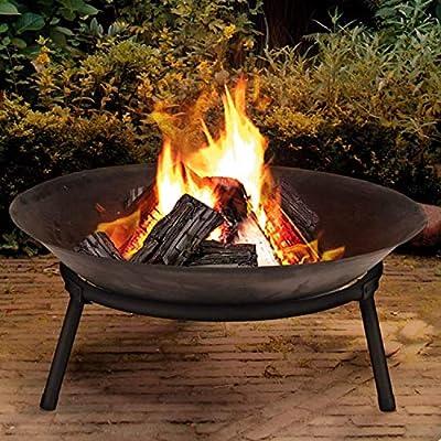 Large Cast Iron Garden Fire Pit Basket Patio Heater Log Wood Charcoal Burner Brazier 50cm Diameter Fire Pit from Rammento