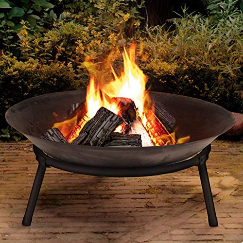 Large Cast Iron Garden Fire Pit Basket Patio Heater Log Wood Charcoal Burner Brazier 50cm Diameter Fire Pit