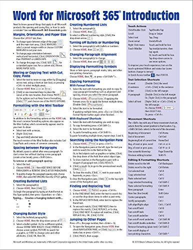 Word for Microsoft 365 (Office 365) Introduction Quick Reference Guide - Windows Version (Cheat Sheet of Instructions, Tips & Shortcuts - Laminated Card)