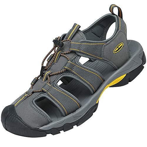 CAMEL CROWN Herren Outdoor Sports Sandalen Waterproof Wandersandale Trekkingsandalen Geschlossene Sandale Sommer Männer Fischer Strand Schuhe Klettverschluss, Grau, 46EU (UK11/US12/)