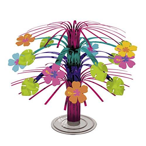 Cascade de table à thème hawaïen Décoration de table hibiscus de fête Hawaï 19 cm Cascade de table Ornament party d'été figurine pour la table fêtes à la plage Déco de fête à poser sur la table
