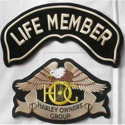 Generico Set 2 Toppe Patch Grandi Aquila Hog Harley Davidson + Roker Life Member