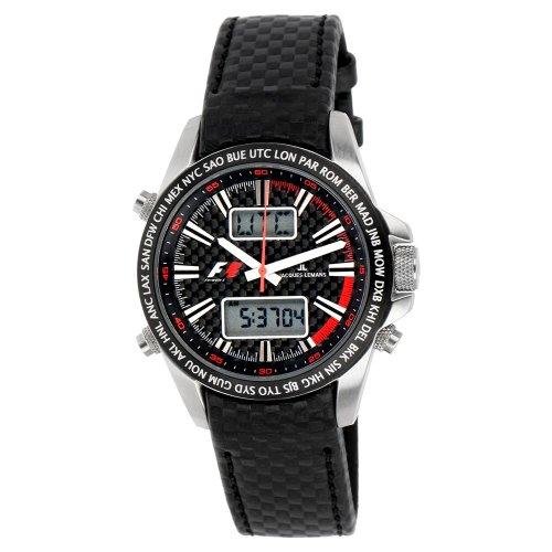 JACQUES LEMANS 'UTC-Chrono' F-5024A - Reloj de Caballero de Cuarzo, Correa de Otro Material Color Negro