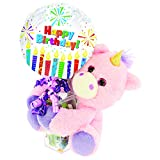 Unicorn Birthday Gift Basket Set | Inflated Happy Birthday Balloon, Stuffed Animal Unicorn, and Assorted Candy | Unicorn Birthday Decorations for Girls Party Supplies