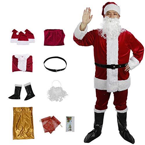 C-Oral Disfraz de Papá Noel para Adulto (12 Piezas), Costume Santa Claus, Traje de Santa, Muy cómodo. (Vino Rojo)