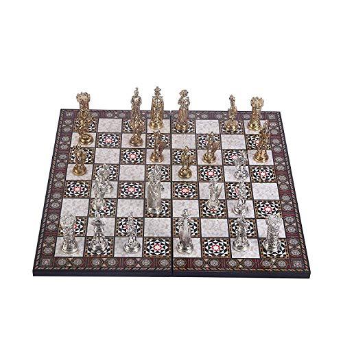 GiftHome - Juego de ajedrez de Metal Medieval del ejército británico para Adultos, Piezas Hechas a Mano y Tablero de ajedrez de Madera con diseño de Madreperla, tamaño King, 3.5 Pulgadas