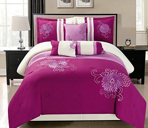 Grand Linen 7 Piece Modern Oversize Magenta Purple/Pink/Beige Embroidered Comforter Set King Size Bedding