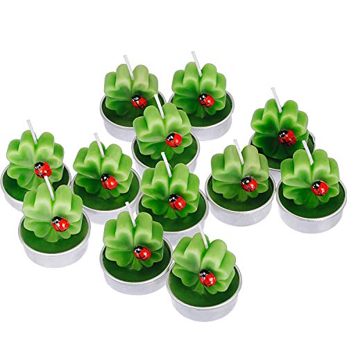 TecUnite 12 Pieces Shamrock Tealight Candles Handmade Delicate Clover Candles for St Patrick Party Day Wedding Spa Home Decoration Gifts Style F