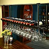 RACK MDELRuldeⓘ Soporte de Copa de Vino Colgante de Altura Ajustable/Botelleros de Techo para Vino/Soporte de Botella de Vino Vintage/Soporte de Vino de Pared rústico/Soportes para Copas