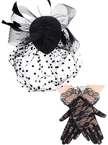 1950s Vintage Fascinator Hat Faux Feather Mesh Net Hat Cocktail Tea Party Headwear and Women Short Lace Gloves (Classic Style) Black