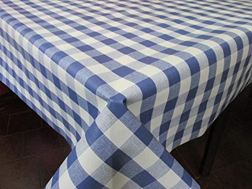 HuleHule Mantel de Hule con Estampado de Cuadros. Colores a Elegir. Composición Superior 100% PVC y Base de algodón (Azul, 100_x_140_cm)